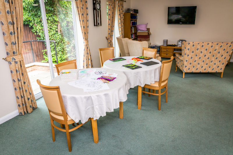 Care home activity tables set out