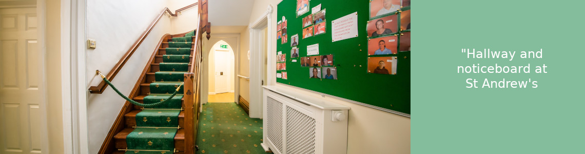 Hallway and stairs at St Andrews Care Home